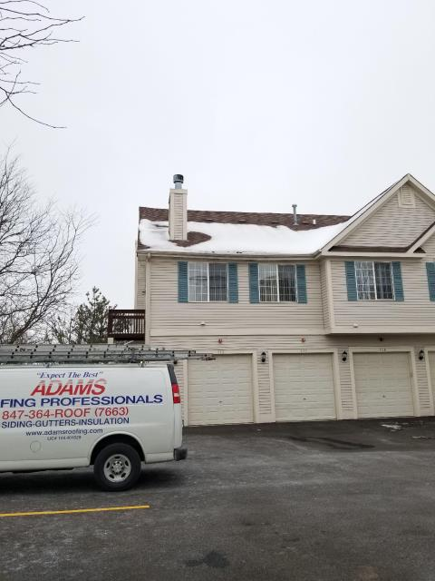 Fox Lake, IL - Today's rain and snow could not stop or professional service technicains from performing a roof inspection.
