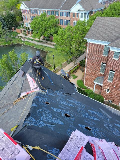 Naperville, IL - A new Owens Corning Roof System is being installed with our professional crews.