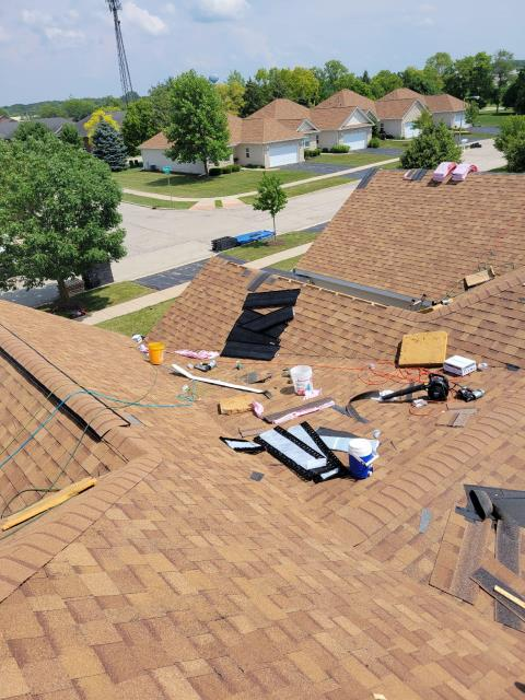 Yorkville, IL - Our Great service work helped put this roof back together before the heavy rain storms approached.