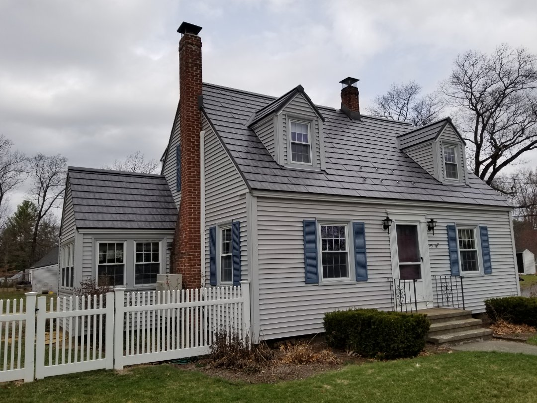"""Lancaster, MA - The best aluminum shingle metal roof under the sun! The Oxford """"slate"""" on this cape is beautiful.  The installation will last 100 years plus."""