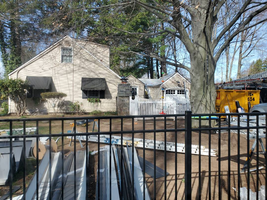 West Hartford, CT - Project underway in West Hartford Connecticut aluminium metal standing seam roof.