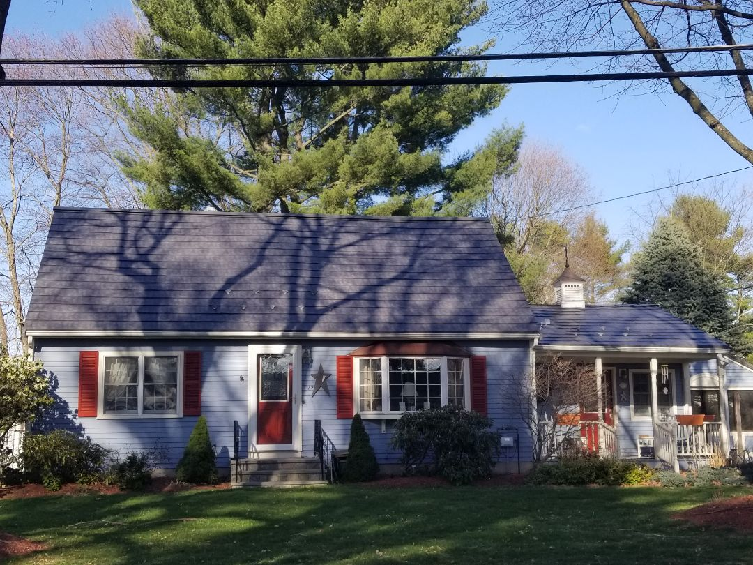 Hudson, MA - The world's most beautiful metal roof! The Oxford aluminum slate  shingle. It will last a lifetime.  Copper bay window accents.