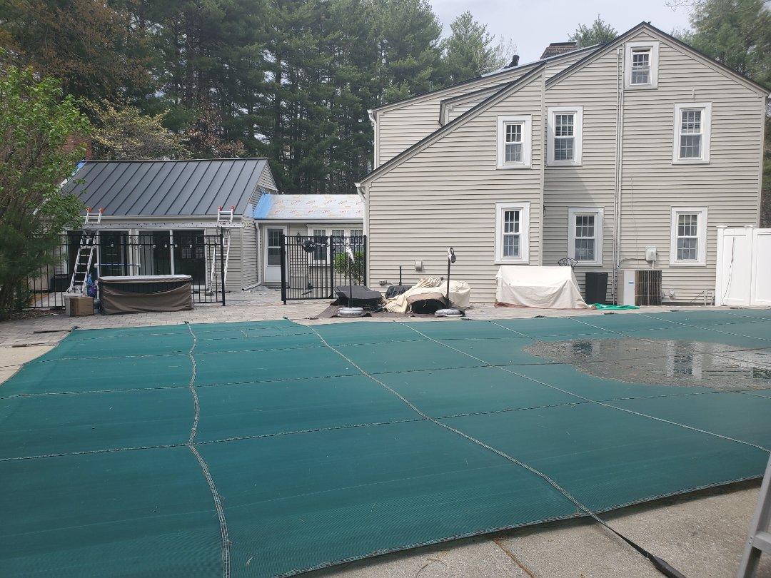 Marlborough, MA - Just getting started on aluminum metal standing seam roof.