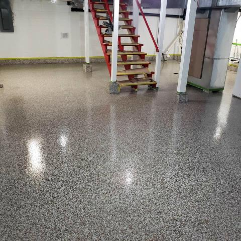 Concrete epoxy is the best option for any space in your home that may take on water, this system is virtually waterproof