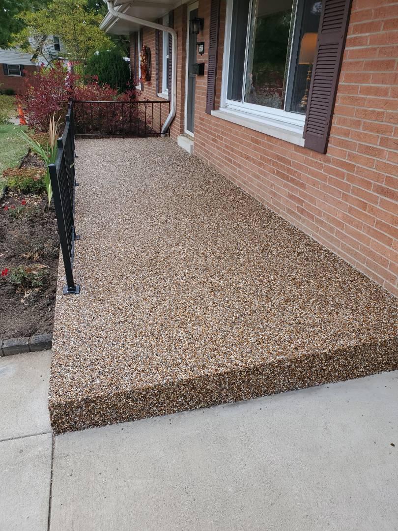 Streamstone, river rock ,porch,custom porch