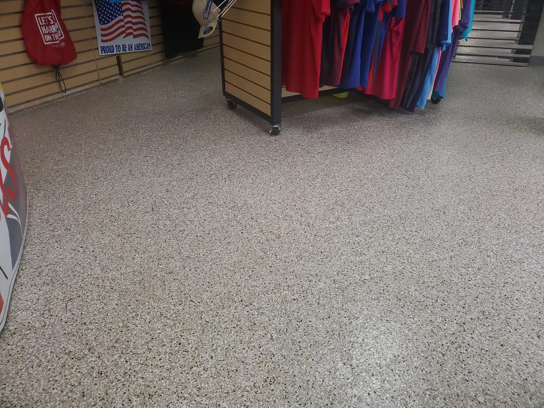 Harrison, OH - Retail store ,custom blended epoxy flake floor ,full broadcast flake epoxy