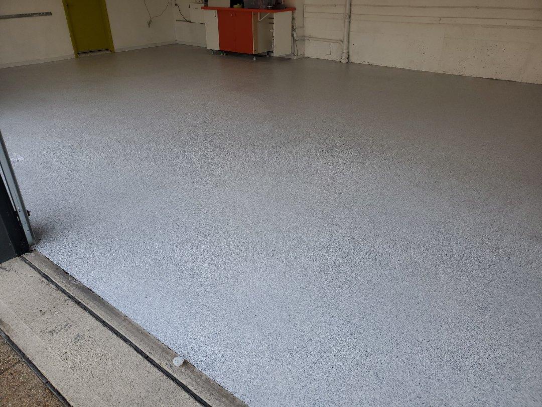 3 car 1 day garage epoxy custom flake full broadcast floor.