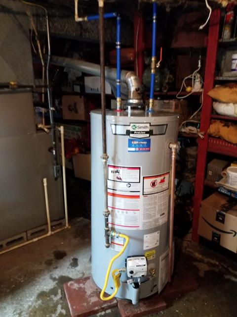 Install 40gal natural gas water heater