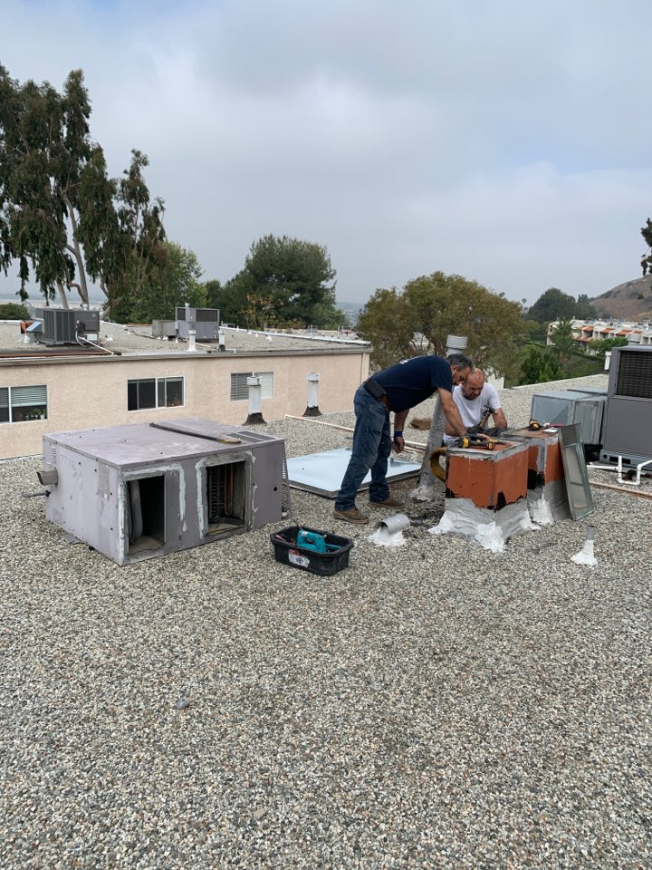 Burbank, CA - New package unit going in here in Burbank with larger ductwork