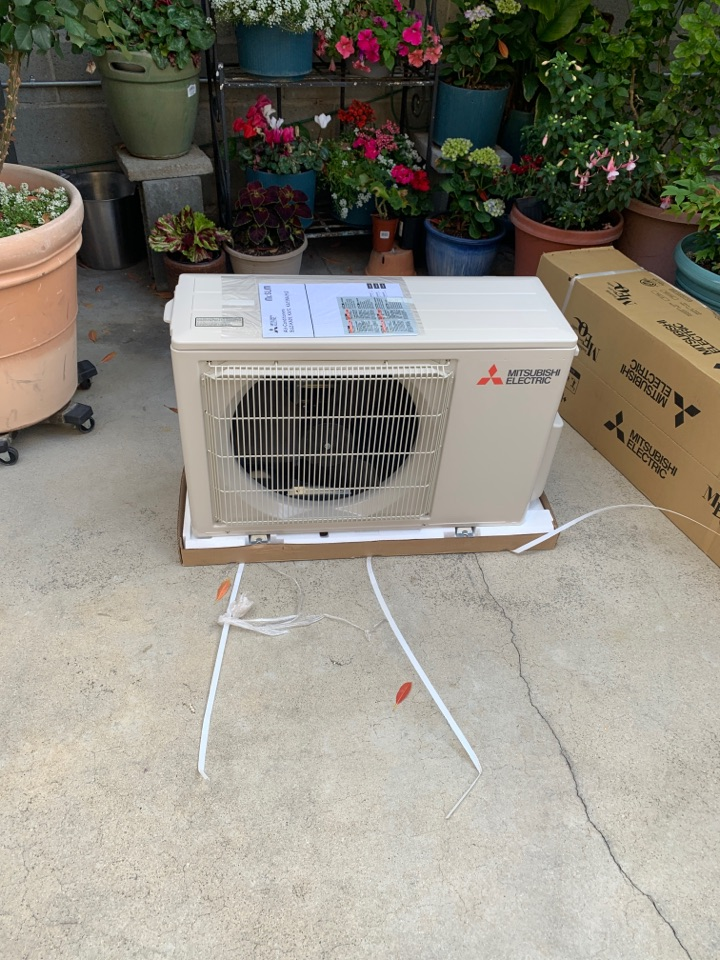 Burbank, CA - Mitsubishi Single zone ductless one way ceiling cassette going in here in Burbank