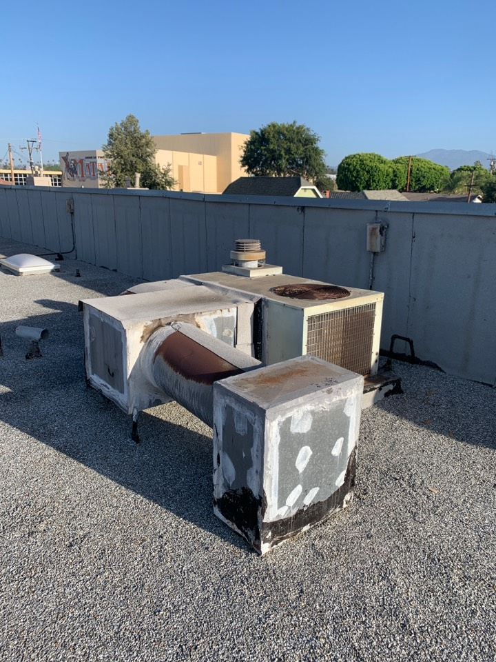 San Gabriel, CA - Time to replace this old unit and all the metal ductwork on the roof here in San Gabriel
