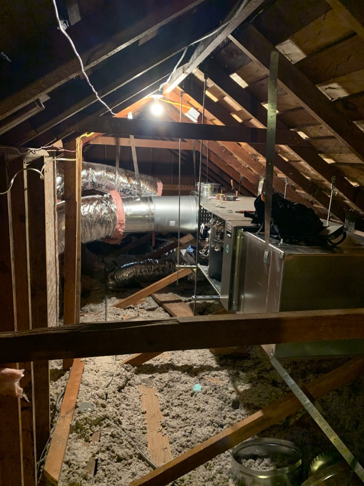 San Marino, CA - New install moving unit form the basement to the attic all new duct work and brand new cut through the ceilings. Custom dual return in the skylights here in San Marino