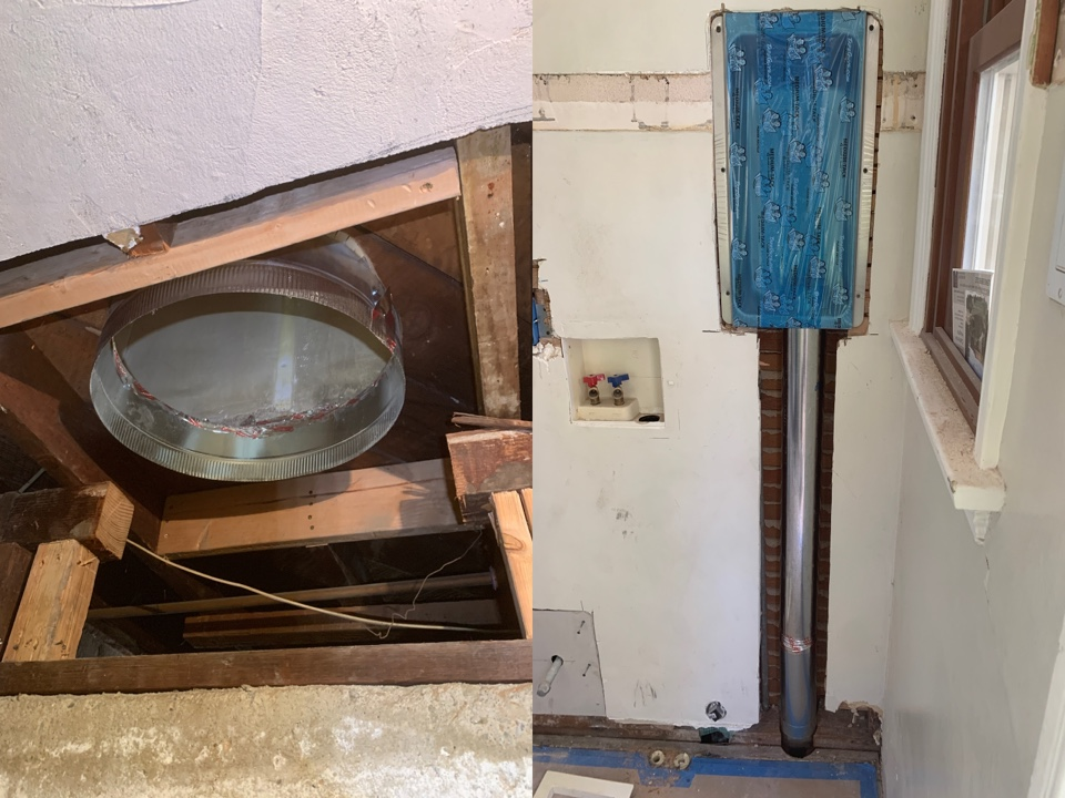 Long Beach, CA - New return in crawl space and venting for dryer exhaust at sunny Long Beach