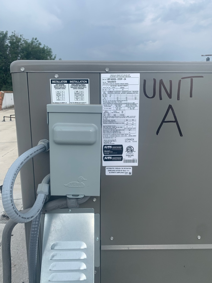 Monterey Park, CA - Making some corrections per inspector move disconnect to read the label of the unit. And mark the unit which apartment it's for here in Monterey park
