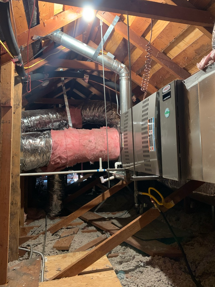 San Marino, CA - Installation complete of a 5 ton system re location  into the attic all brand new cuts through the ceiling 2 returns here in San Marino