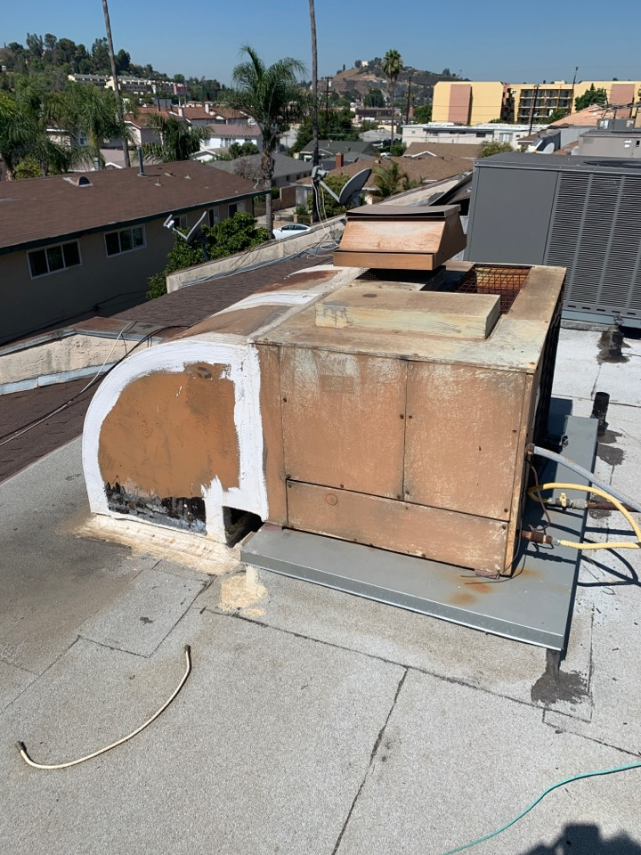 Monterey Park, CA - Detail of new 3 ton package unit going to be installed here in Monterey park