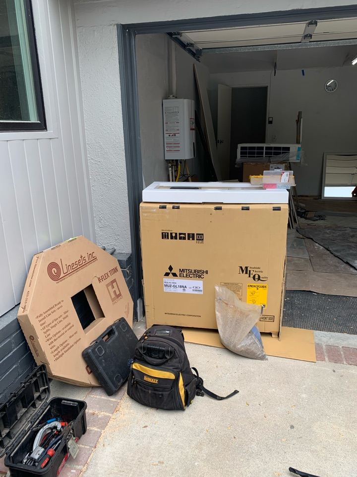 Los Angeles, CA - Mitsubishi ductless being installed in a garage here in LA