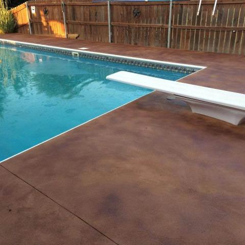 Concrete Stain is a very affordable option to transform your concrete. Concrete staining is 100% customizable and comes in an unlimited arrangement of colors. The only limitation to this system is your imagination!