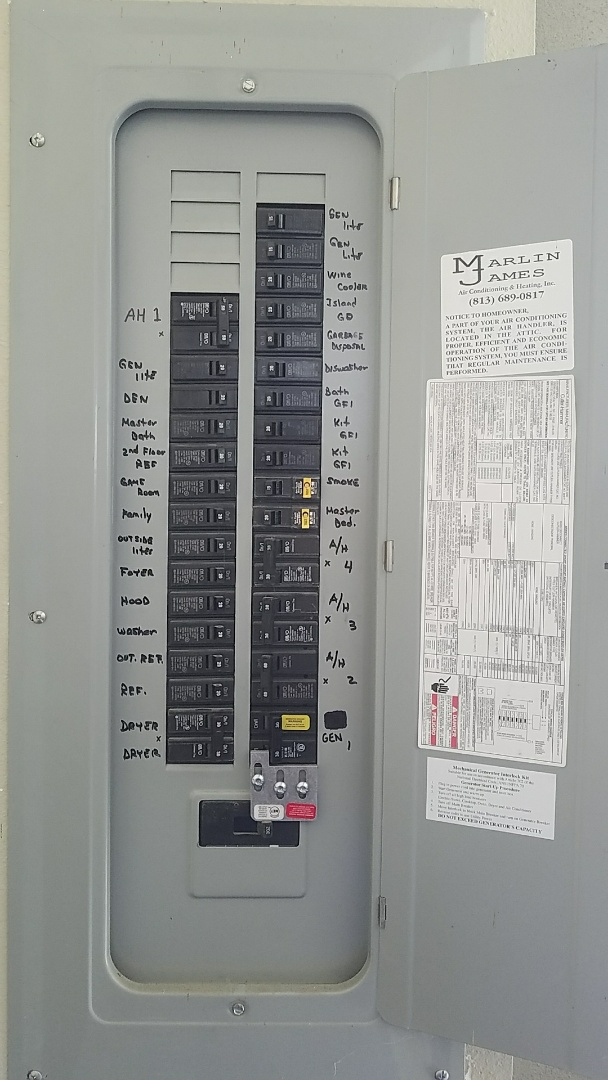 Thonotosassa, FL - Install whole house transfer switch for generator hookup.