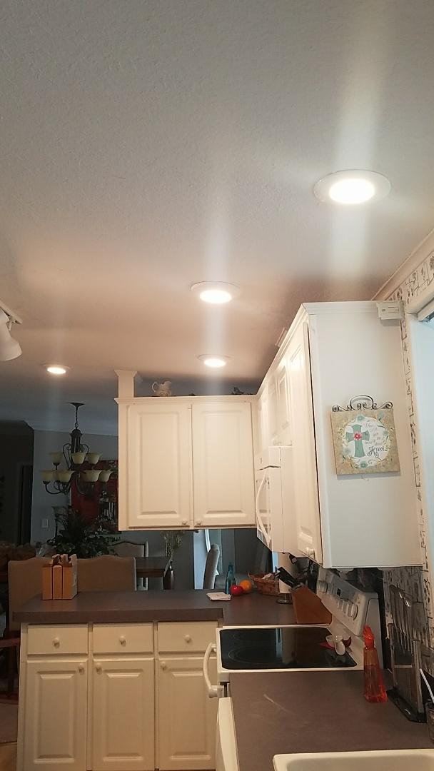 Brooksville, FL - Wiring and installing lights in kitchen.