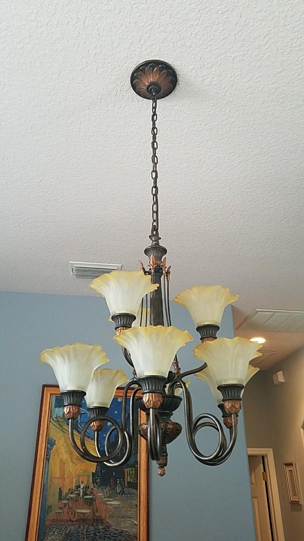 Zephyrhills, FL - Installing chandelier.