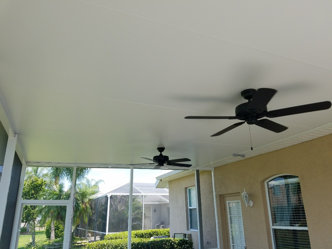 Tampa, FL - Wire for two ceiling fans on patio as well as wire for outside Outlet and install 3 additional ceiling fans