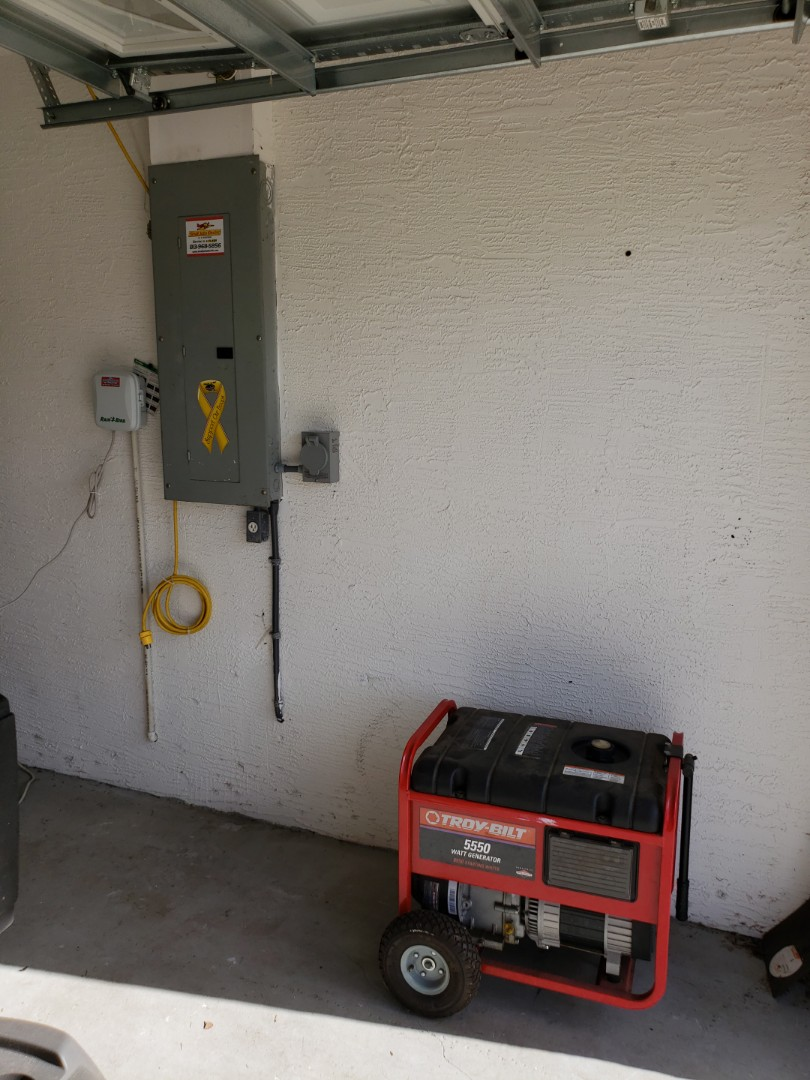 Wire transfer switch  for portable generator  in garage