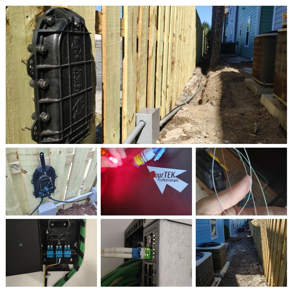 Installing, terminating, and burying over 500' of Fiber optic cable to establish high speed connection between buildings