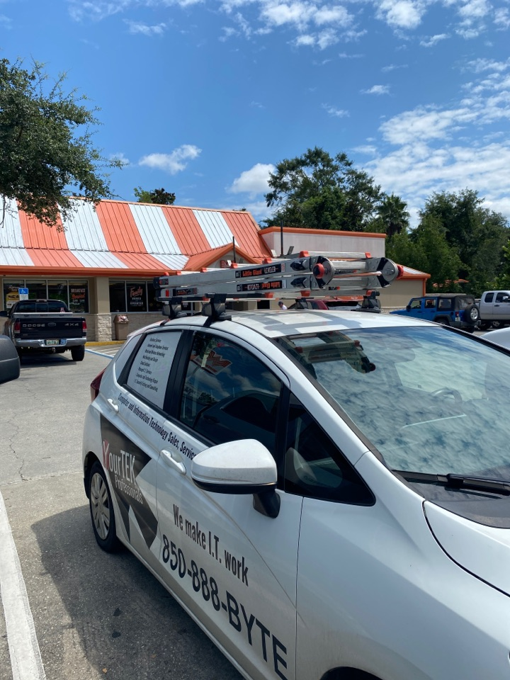 Replacing a card reader here at this Whataburger in Milton