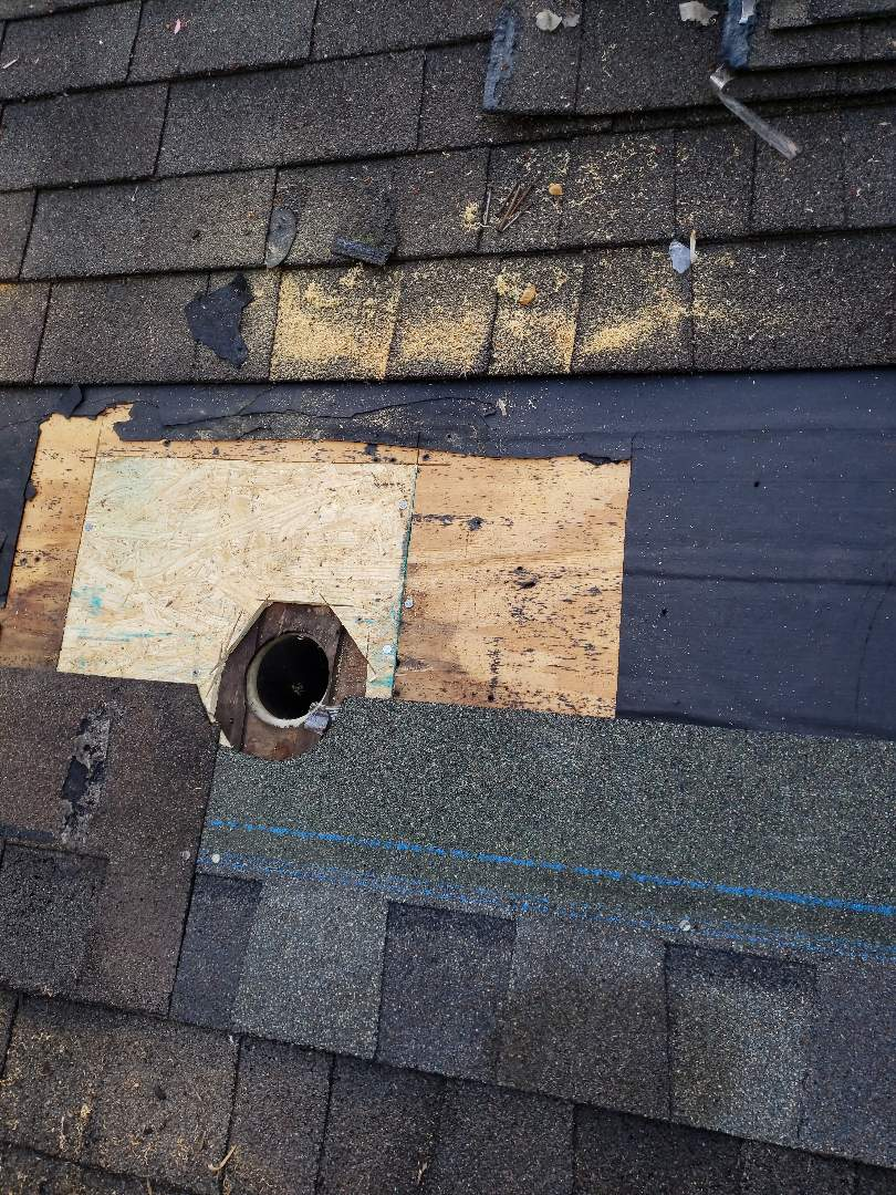 Oak Ridge, TN -  To repair a severe roof leak around a pipe boot. Mobley Brothers Roofing removed the damaged shingles and damaged pipe boot.  A new pipe boot, GAF Weathered Wood Shingles and GAF Storm Guard Leak Barrier were installed to repair the roof leak.