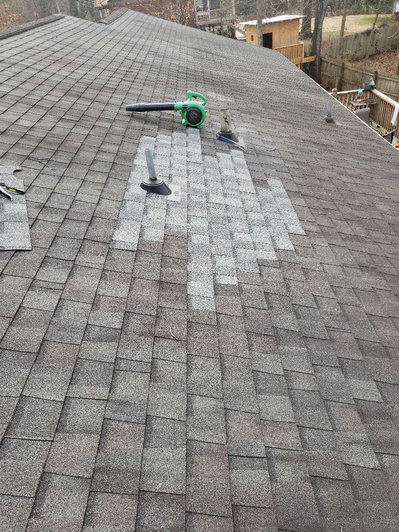 Knoxville, TN - Mobley Brothers Roofing and Renovation found a leak around a vent pipe. We removed the damaged shingles and installed Certainteed Landmark Colonial Slate shingles, replaced the vent boot, and used GAF Storm Guard leak barrier.