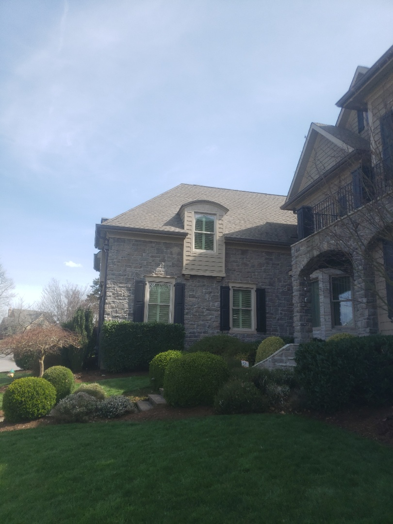 Knoxville, TN - Mobley Brothers Roofing made a dormer leak repair and installed GAF Timberline HD Weathered Wood Shingles. We also installed GAF Storm Guard Leak Barrier and step flashing to complete the repair.