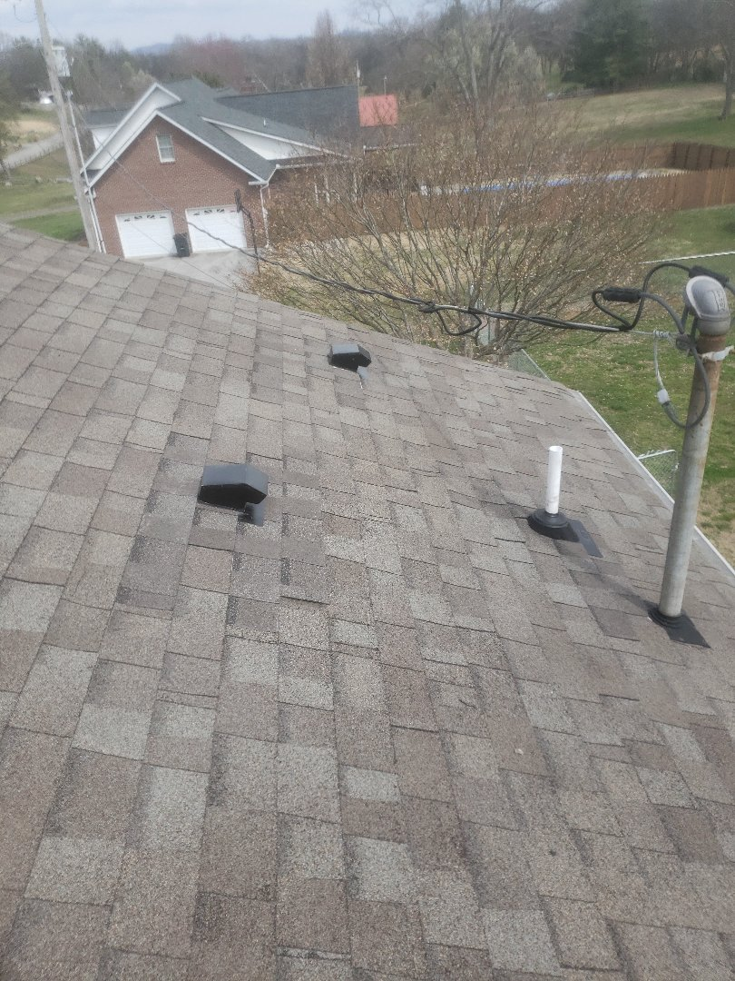 Maryville, TN - Mobley Brothers Roofing and Renovation repaired a roof that had five leaking roof vents that needed to be replaced and we also replaced two leaking vent pipes boots. Tamko Heritage Weathered Wood Shingles matched the existing shingles and GAF Storm Guard Leak barrier was also installed.    .