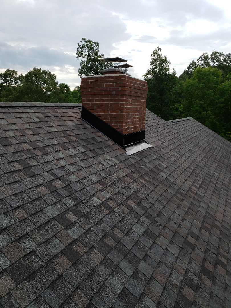Knoxville, TN - Tamko Heritage Thunderstorm Grey shingles, roof flashing, a new ridge vent and GAF StormGuard were installed to repair a leaking chimney on this wonderful Hardin Valley home. Mobley Brothers Roofing and Renovation is a GAF Master Elite Certified Roofing Contractor.