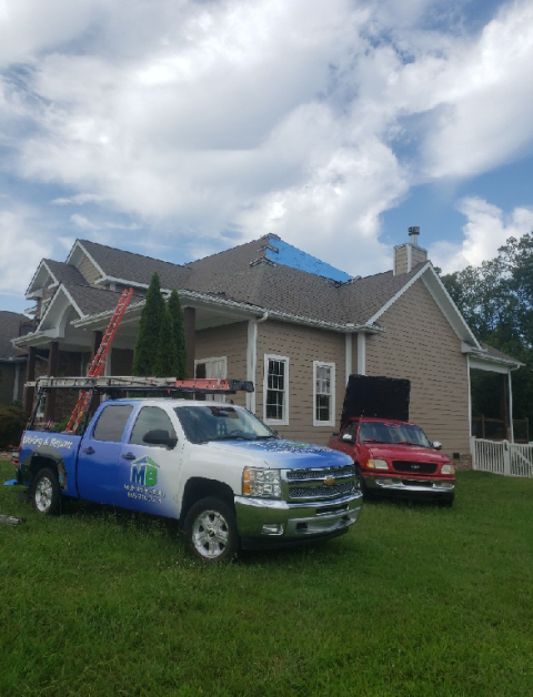 Kingston, TN - Mobley Brothers Roofing repaired several roof leaks by removing damaged shingles and installing Tamko Dimensional Weathered Wood shingles and GAF Storm Guard Leak Barrier.