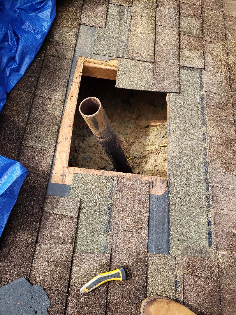 Knoxville, TN - We made several repairs to this roof. There was significant damage to the decking around a pipe vent, that was caused by a leak. We installed new decking, GAF Storm Guard, a new pipe boot and Owens Corning Desert Tan shingles.
