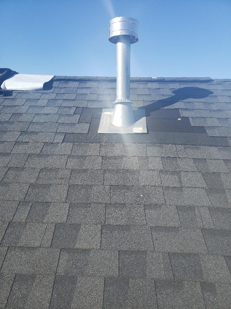 Knoxville, TN - One of our team found a leak around this gas vent. We removed the damaged shingles, replaced the damaged gas vent and installed a matching dimensional shingles. Damaged roof vents are often the reason for a roof repair.