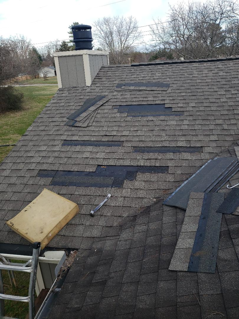 Knoxville, TN - We received a call from a man who had noticed some water stains on the kitchen ceiling a few days ago.  We came out and found multiple problems that were the source of his roof leak.