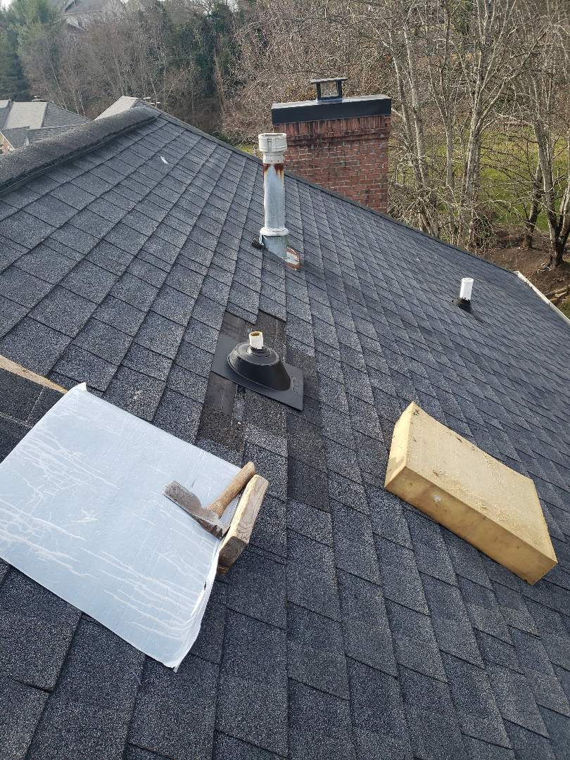 Knoxville, TN - We were called about a roof leak and found leaking pipe boots. We replaced the leaking boots and installed matching asphalt architectural shingles.
