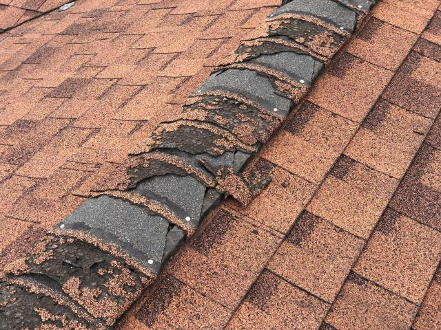 Hazle Township, PA - Giving an estimate on a roof replacement for this customer! The shingle granules on this roof are literally falling off. Leaving your roof like this can cause serious damage to your home.