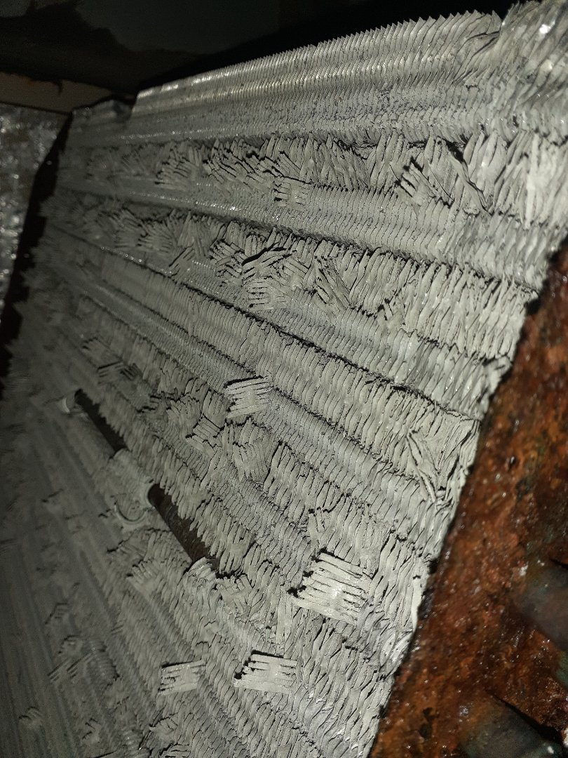 Lennox evaporator coil fins have disintegrated, getting into the air stream and shooting out of vents