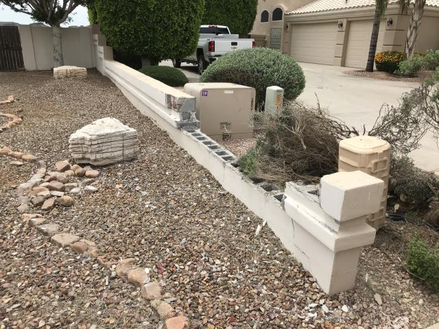 Glendale, AZ - Estimating repairs for an exterior block wall for a family in  Glendale.