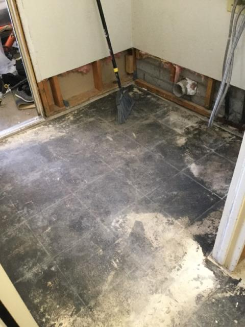 Glendale, AZ - Finishing demolition of tile flooring. Getting ready for install of new flooring for a family in Glendale after refrigerator had a water leak.