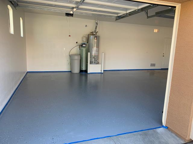 Goodyear, AZ - Finished epoxy flooring in a family's garage after having a garage fire in Goodyear, AZ.