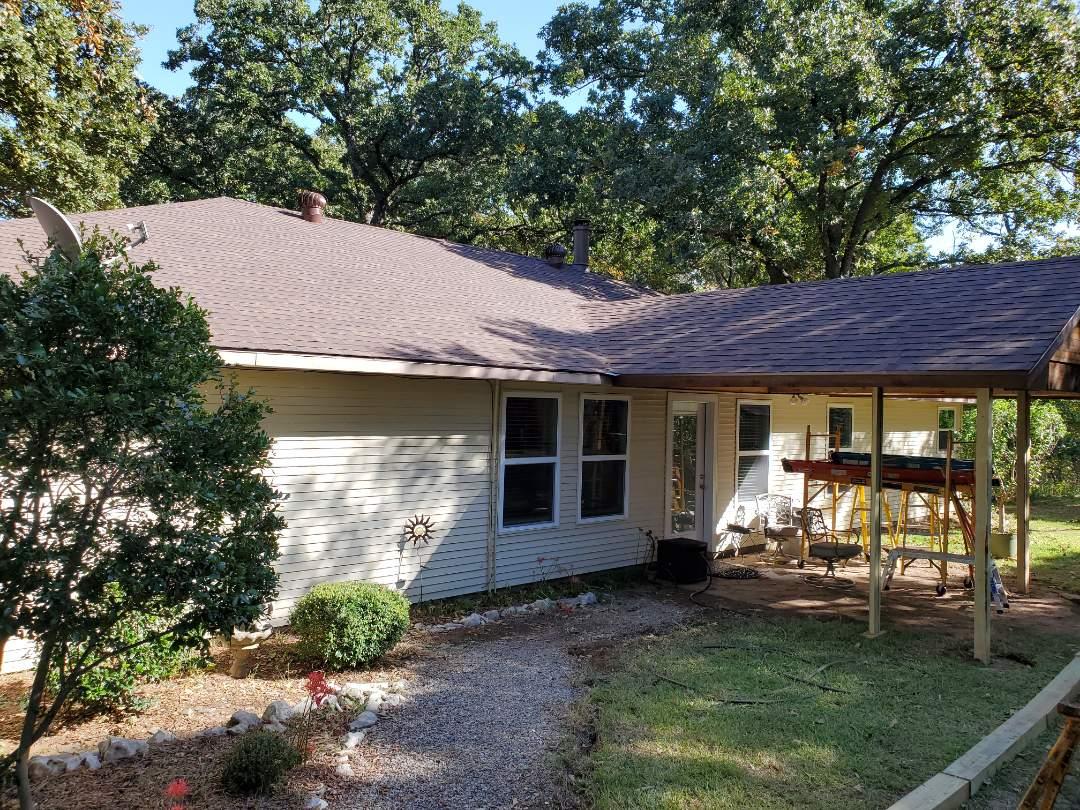 Pottsboro, TX - Install beautiful new I once corny Oakridge Brown wood roof by lankford roofing on like ticks oma