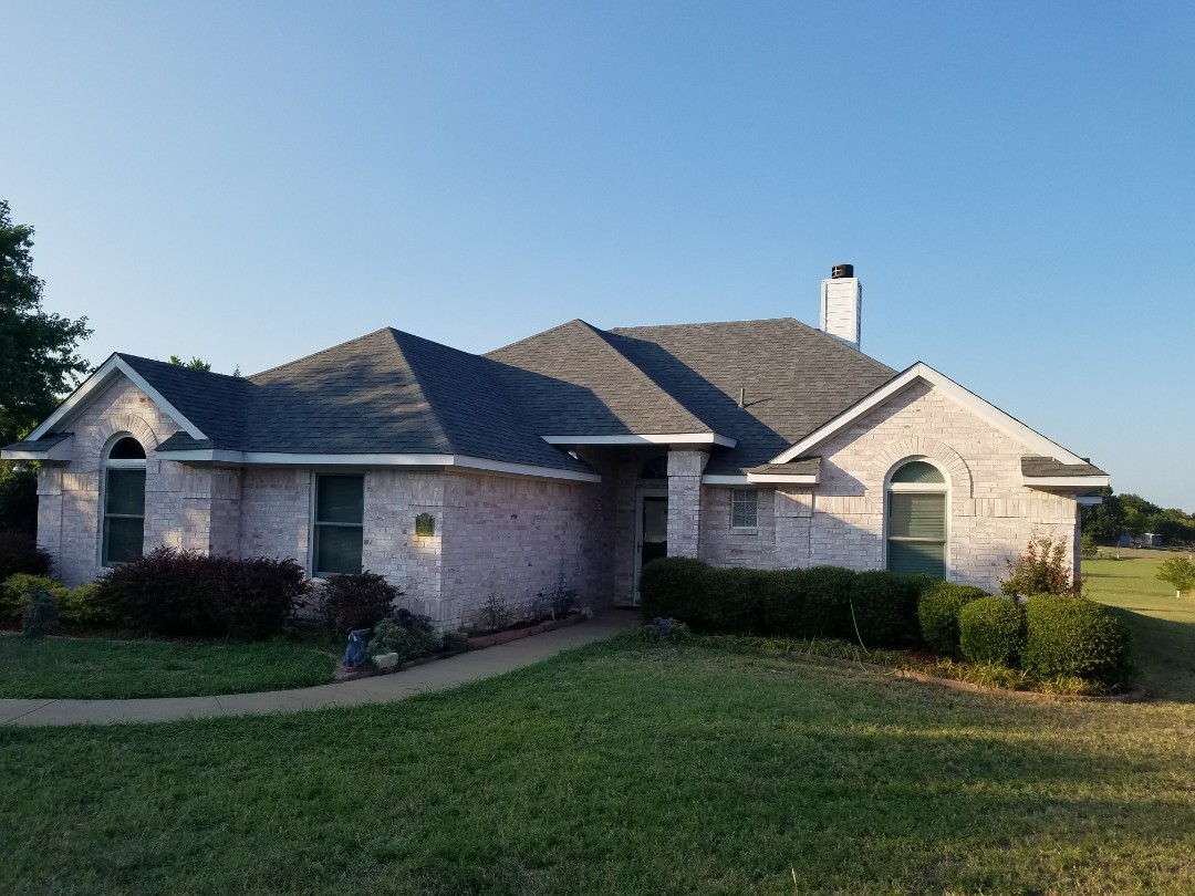 Sherman, TX - Installed beautiful new Owen's Corning  estate grey roof and white gutters on back tomorrow