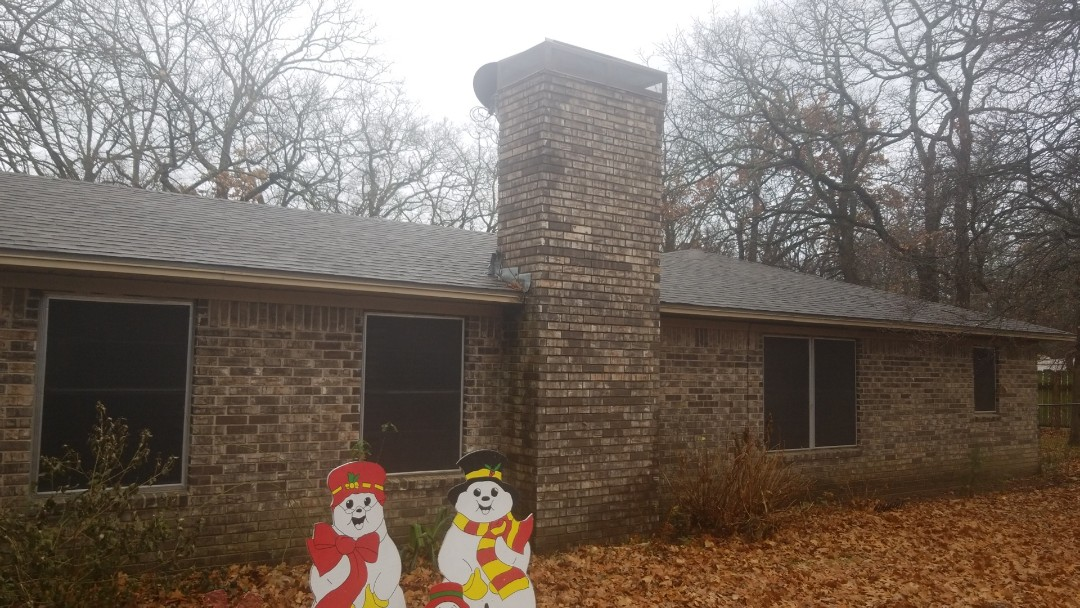 Cartwright, OK - New roof and chimney cap.