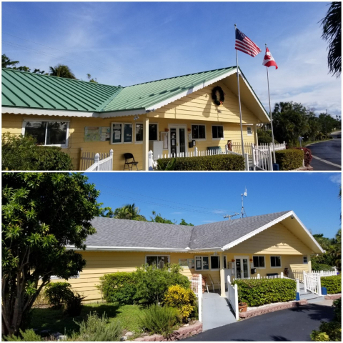 Juno Beach, FL - Before and after Mechanical Seam Patina Green Aluminum Metal roof replacement