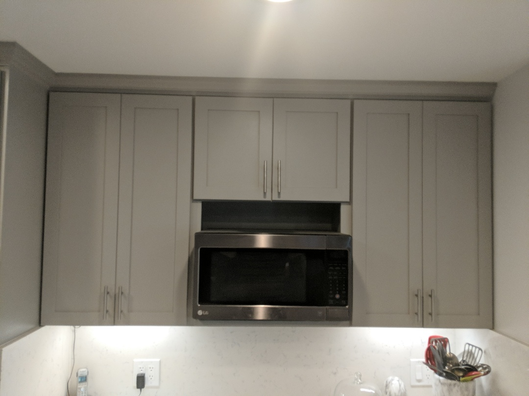 Anaheim, CA - Completed kitchen remodel in anaheim hills CA , grey shaker cabinets , with quartz tops