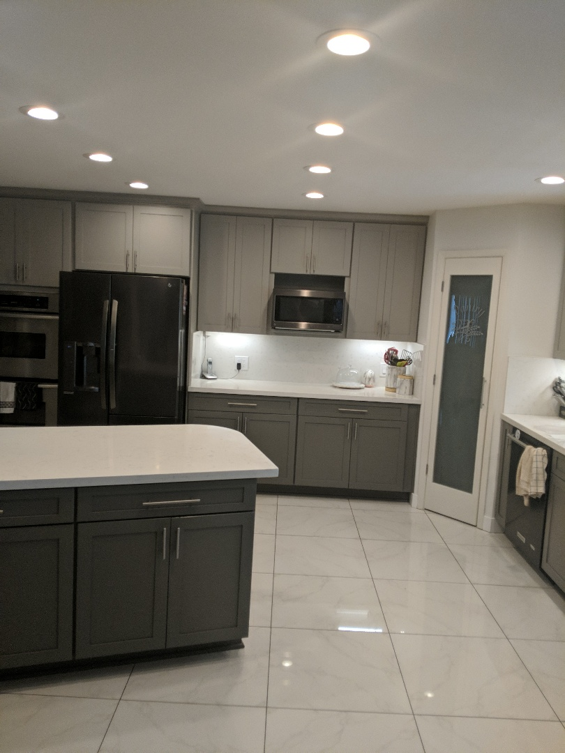 Anaheim, CA - Kitchen remodel quartz tops , grey shaker cabinets